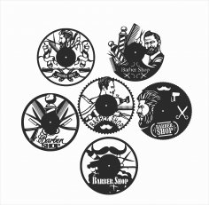Laser Cut Barber Shop Vinyl Wall Clocks Free Vector
