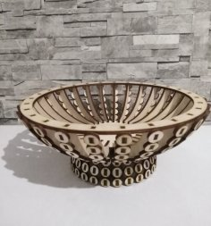 Laser Cut Wooden Candy Bowl Basket Wooden Flower Basket Free Vector
