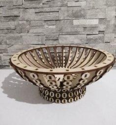 Laser Cut Wooden Candy Bowl Basket Wooden Flower Basket Free Vector