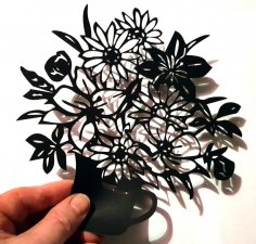 Laser Cut Flowers With Vase Home Decor Free Vector