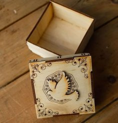Laser Cut Wooden Box With Pigeon Decor Free Vector
