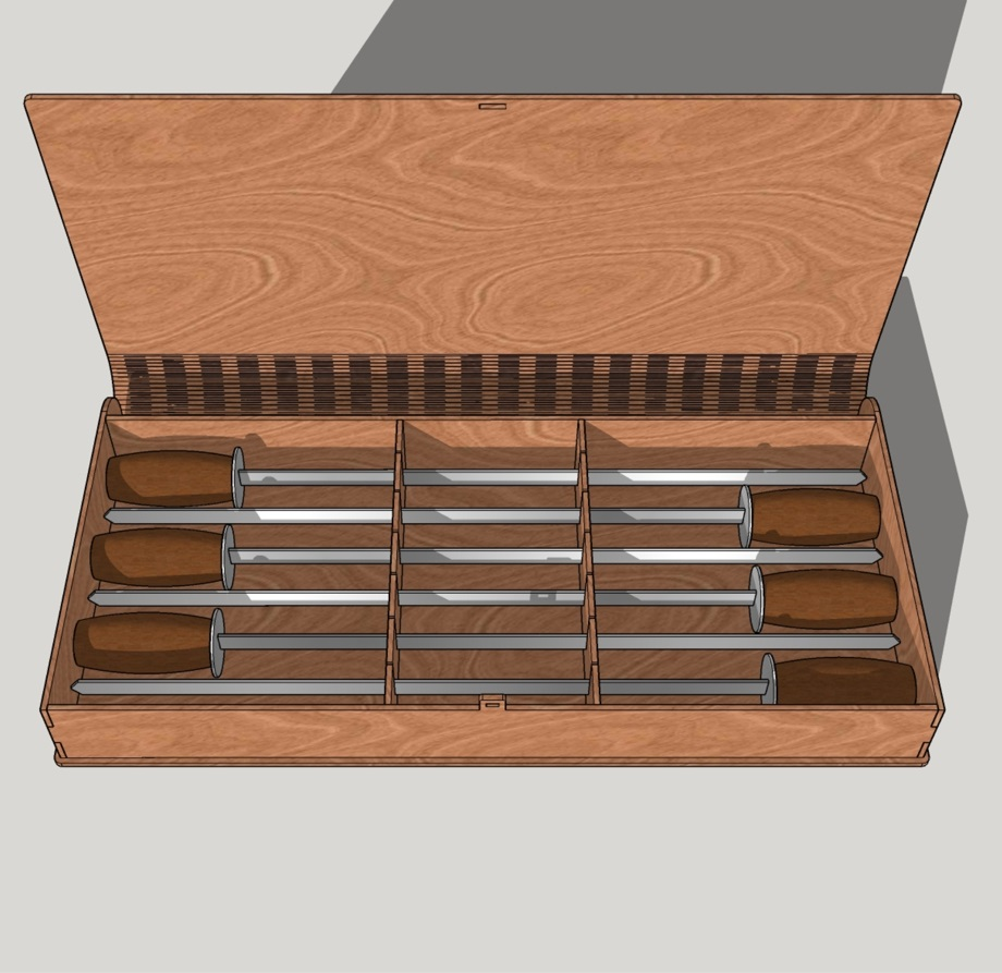 Laser Cut BBQ Skewers Case Wood Storage Box Free Vector