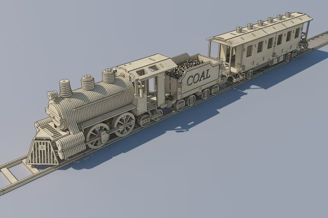 Laser Cut Wooden Train Locomotive Free Vector