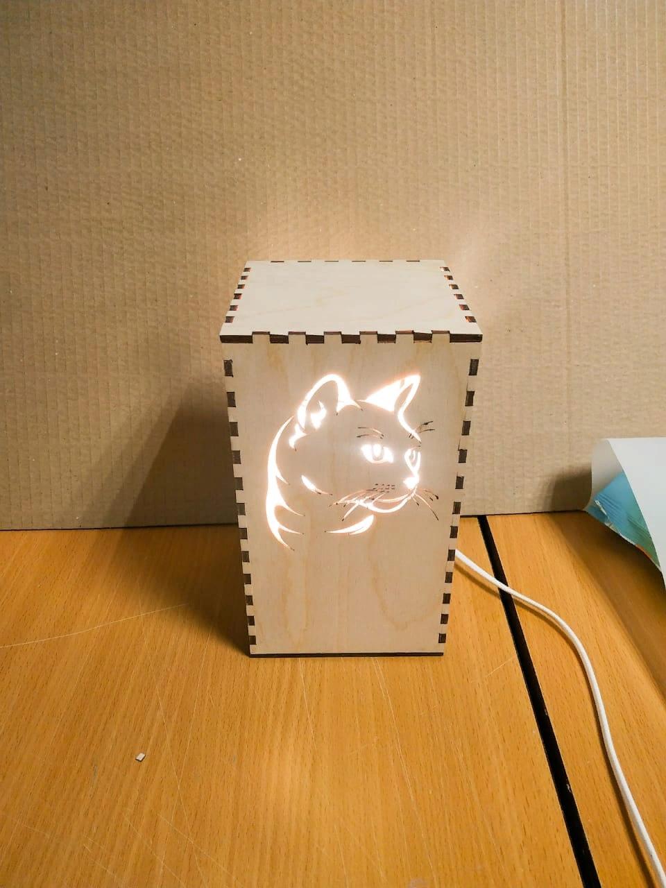 Laser Cut Kitty Cat Night Light Lamp Free Vector
