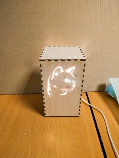 Laser Cut Kitty Cat Night Light Lamp Free Vector