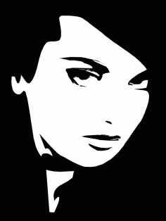 Woman face black and white vector CDR File