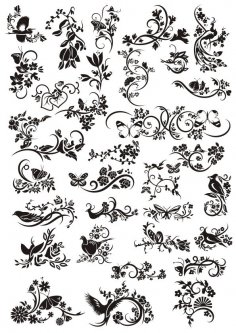 Decorative Elements Floral Ornaments Free Vector