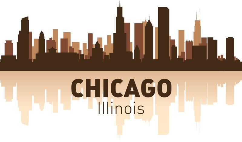 Chicago skyline silhouette of the city Free Vector