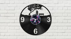 Clock With Couple Free Vector