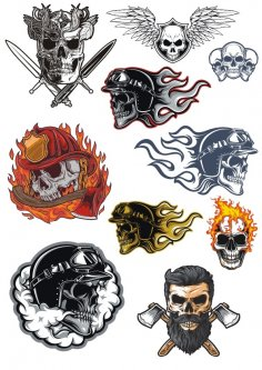 Skull Illustration Vector Art Set CDR File
