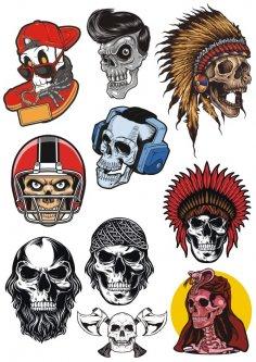 Skulls Set Free Vector