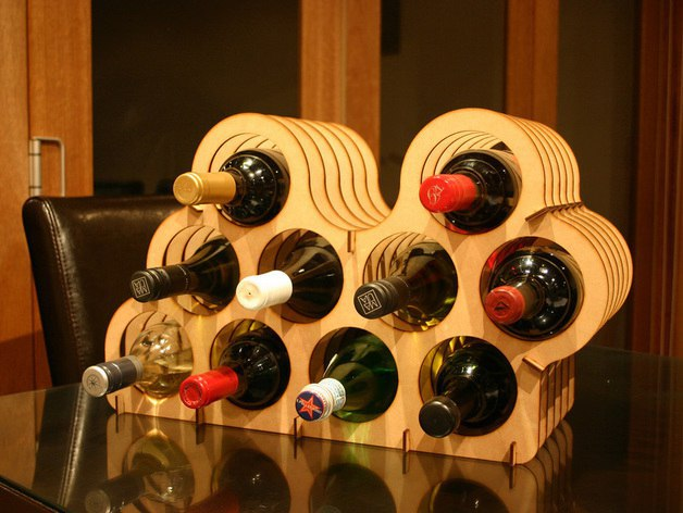 Asymmetrical Wine Rack Laser Cut Free Vector