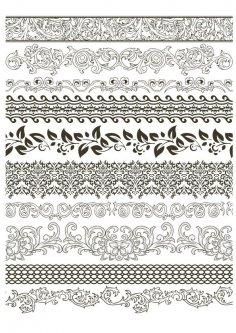 Fancy Floral Borders Free Vector