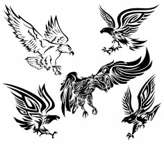 Tribal Eagle Vectors Set Free Vector