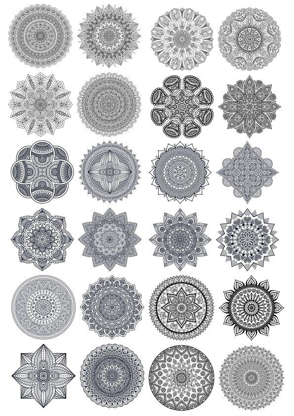 Mandala Vector Ornaments Set Free Vector