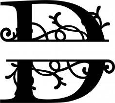 Split Monogram Letter D DXF File