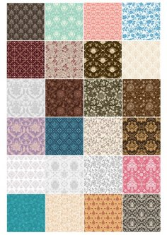 Set of Seamless Elegant Floral Background Vector Free Vector