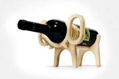 Laser Cut Elephant Wine Bottle Holder Free Vector