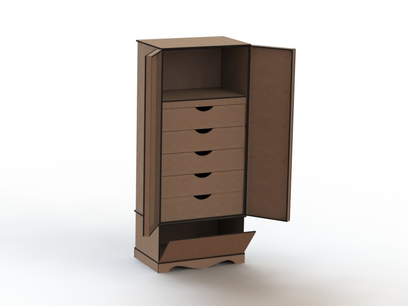 Laser Cut Cabinet with Drawers DXF File