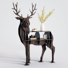 Laser Cut Deer Bookcase Shelf Free Vector
