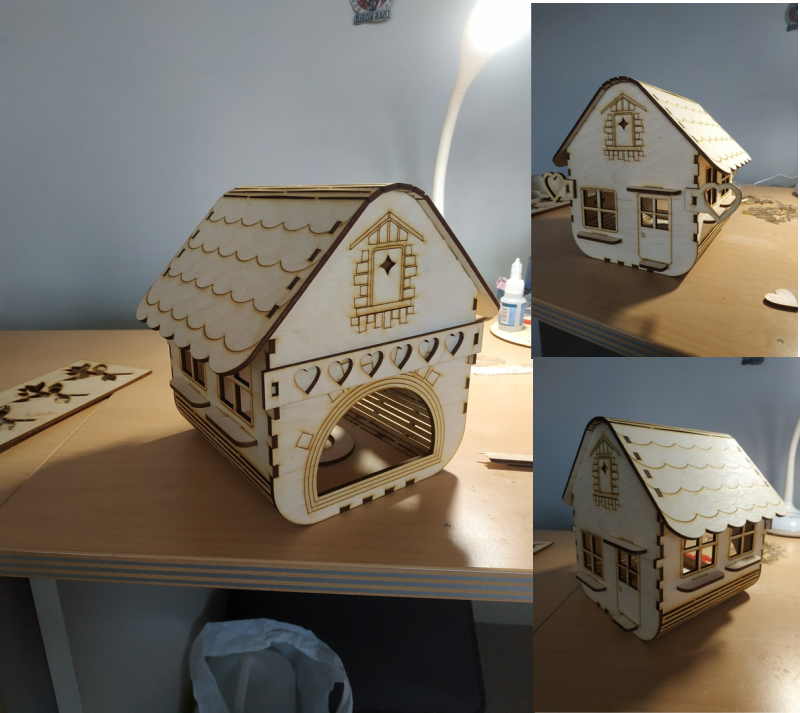 Laser Cut Small Wooden House Free Vector