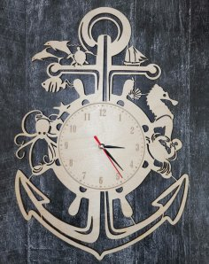 Laser Cut Nautical Wall Clock Free Vector