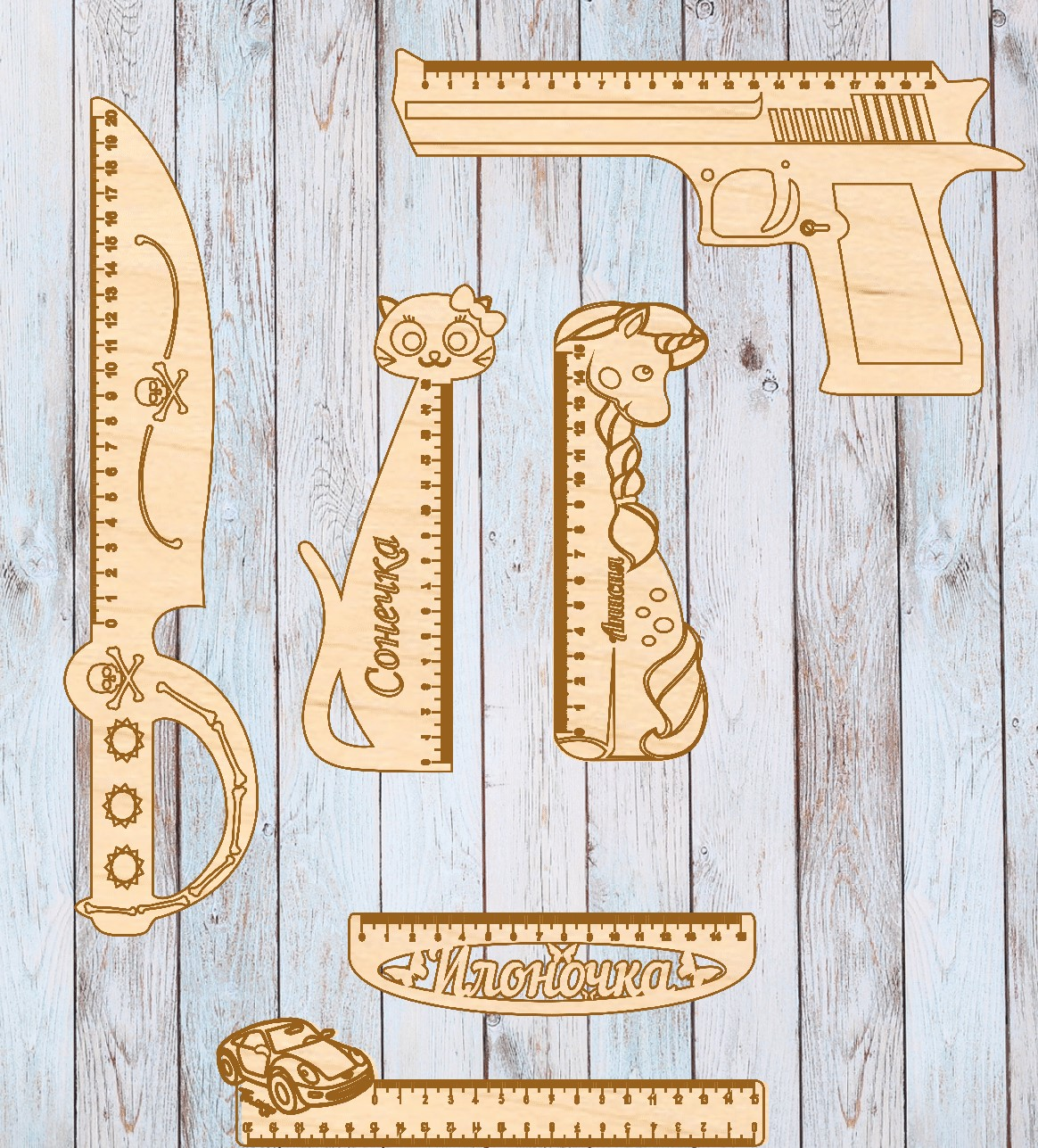 Laser Cut Personalised Wooden Ruler Cat Shape Free Vector