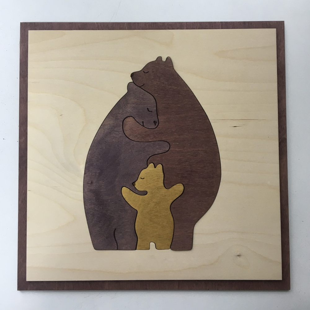 Laser Cut Bear Family Wall Art Free Vector