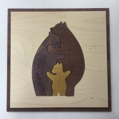Laser Cut Bear Family Wall Art Free Vector