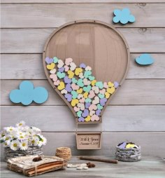 Laser Cut Wedding Hot Air Balloon Guest Book Free Vector