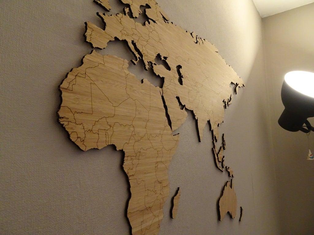 Laser Cut World Map Bamboo 1850x750mm PDF File