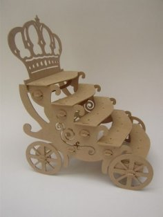 Laser Cut Crown Carriage Cupcake Stand Free Vector