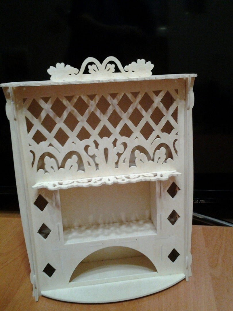Laser Cut Dollhouse Miniature Fireplace Plywood 3mm Free Vector