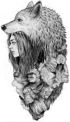 Laser Engraving Wolf Girl Art Template BMP File