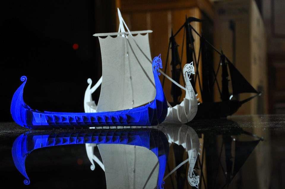 Laser Cut Viking Ship Template Free Vector