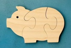 Pig Wooden Jigsaw Puzzle Plan Laser Cutting CNC DWG File