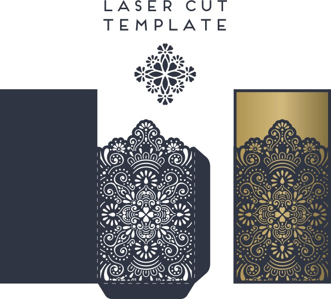 Laser Cut Lace Wedding Invitations Card Template Free Vector