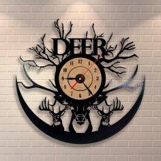 Laser Cut Deer Animals Art Vinyl Record Clock Template Free Vector