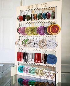 Laser Cut Large Earring Display Rack Template SVG File