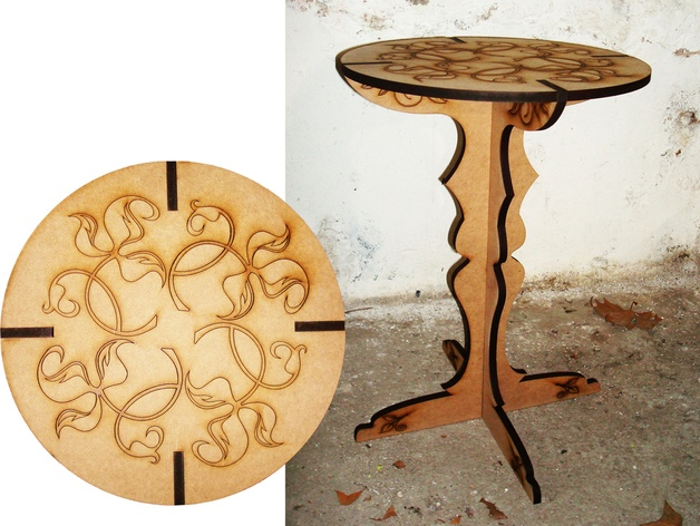Laser Cut Table with Engraving Template Free Vector
