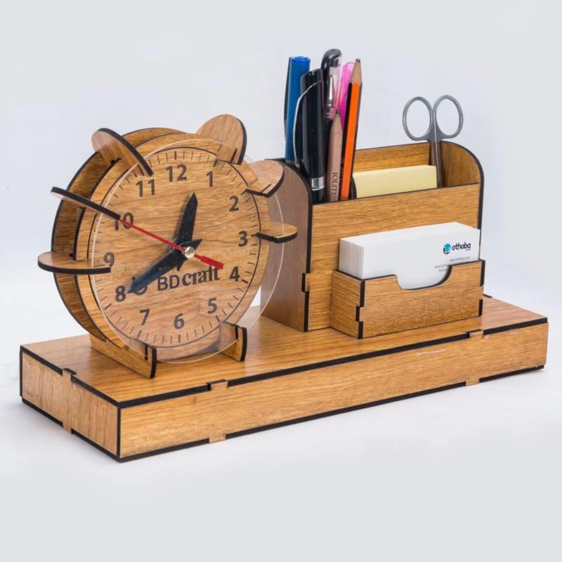 Laser Cut Organizer Clock Pen Slip Pad Holder Free Vector