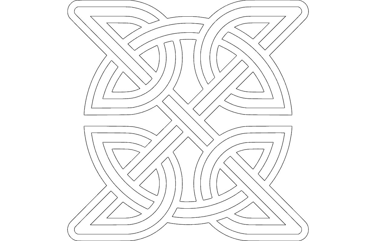 Celtic Knot Round Inside Square dxf file