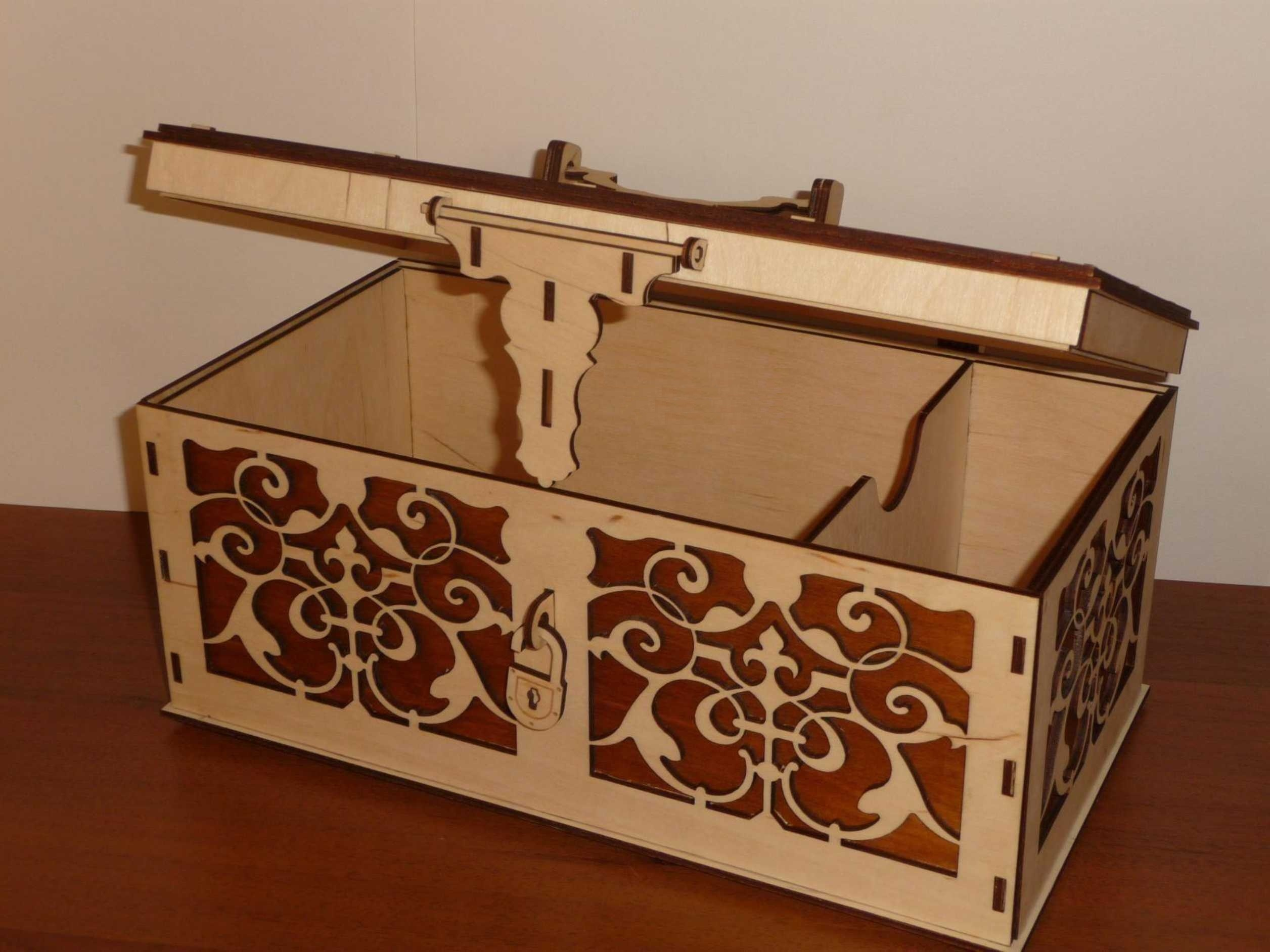 Laser Cut Wooden Box with Lid and Lock Free Vector