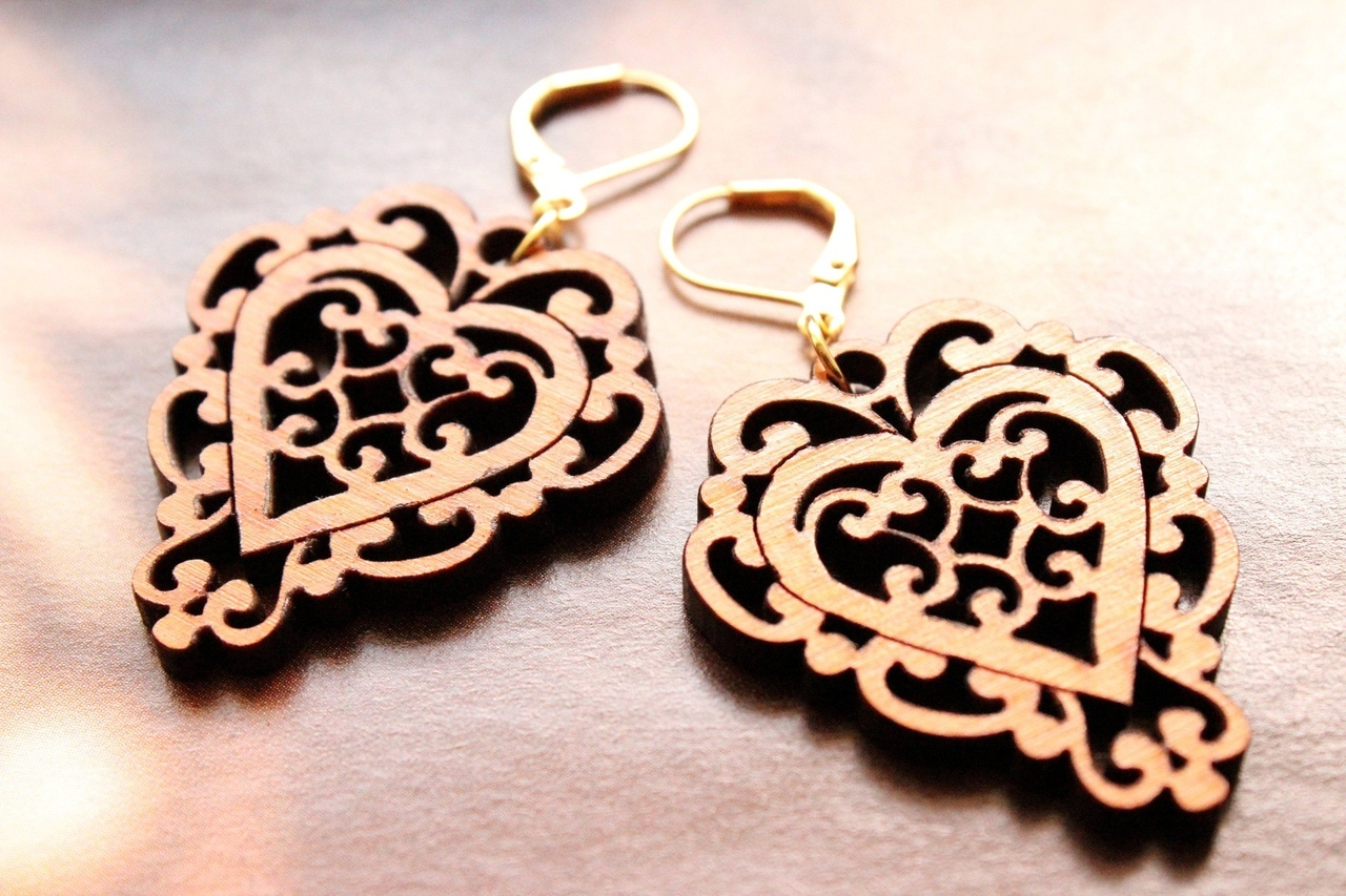 Laser Cut Heart Earrings or Pendant Free Vector