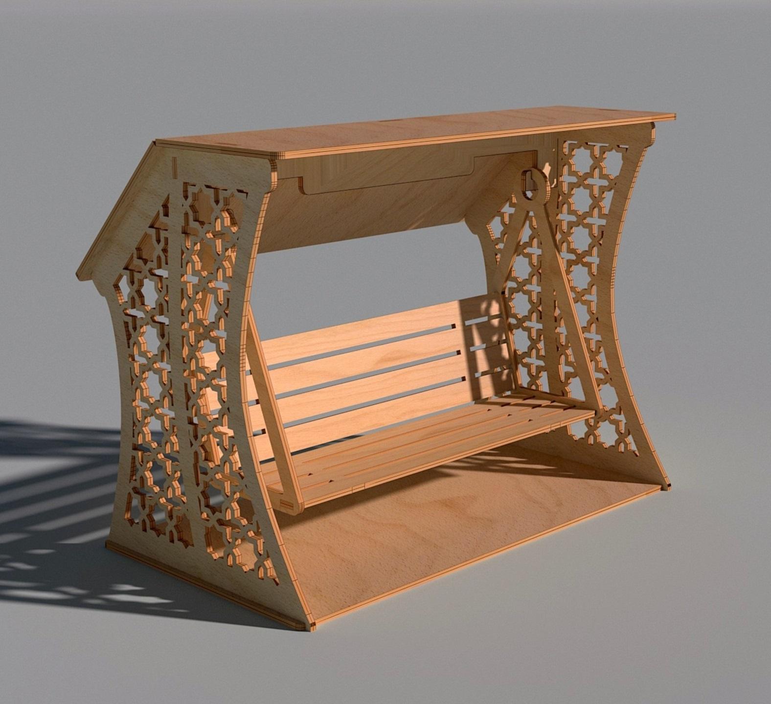 Laser Cut Wooden Decorative Swing Free Vector