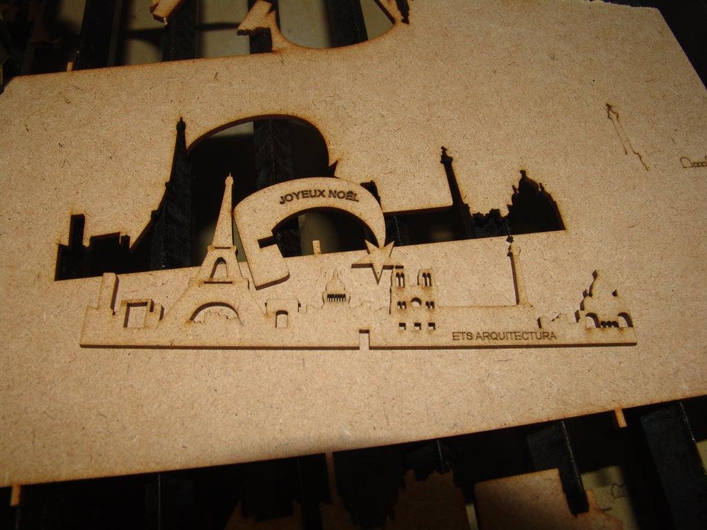 Laser Cut Table Decor Paris Skyline Seville Skyline 3mm DXF File