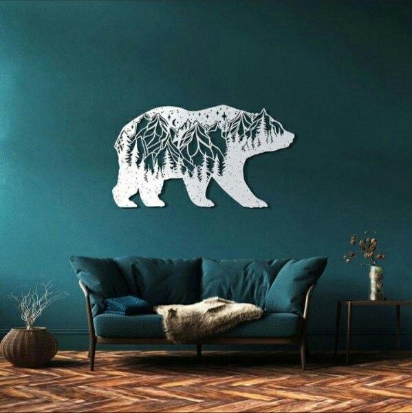 Laser Cut Decorative Bear Wall Decor DXF File