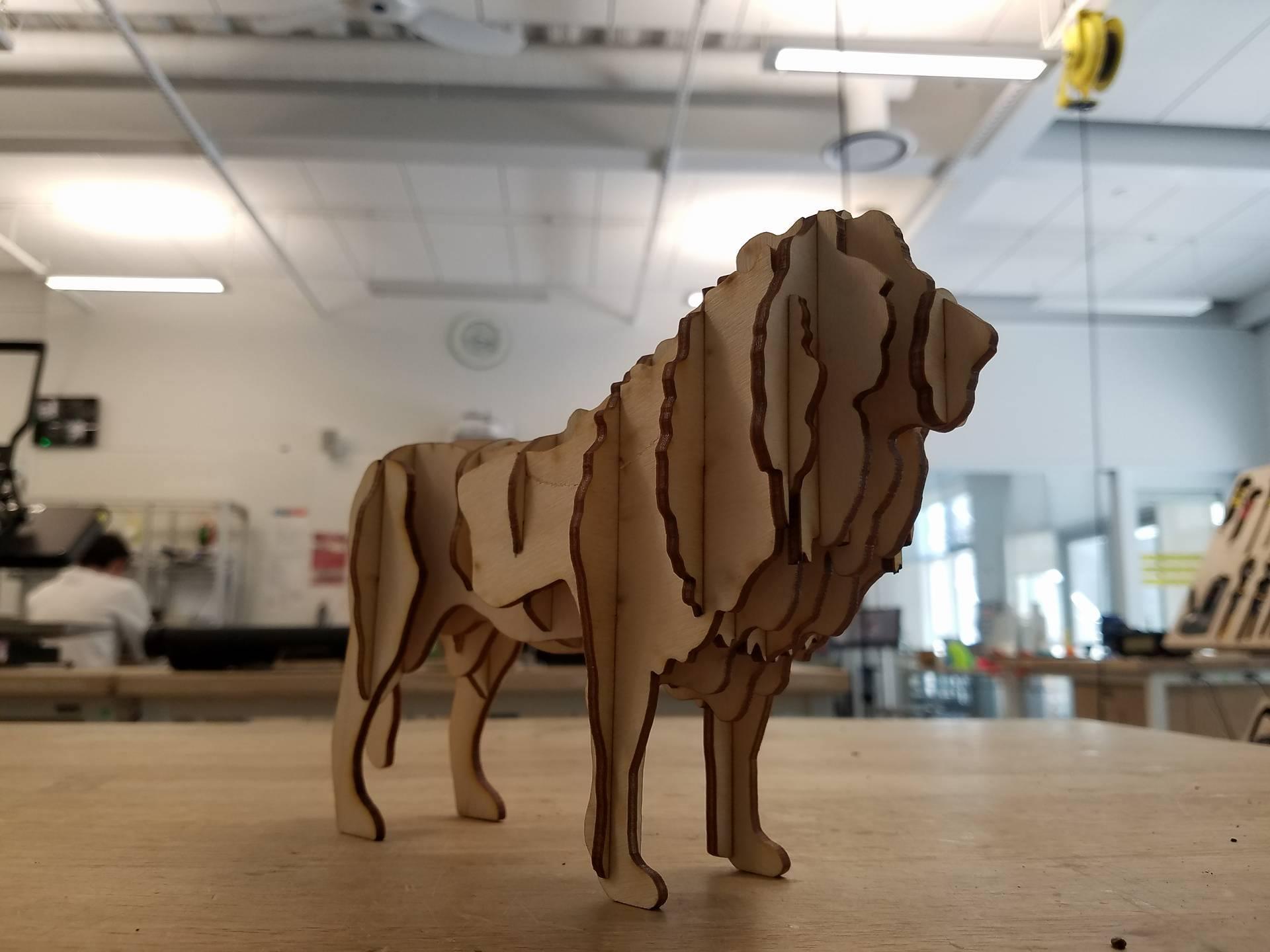 Laser Cut Wooden Lion Puzzle PDF File