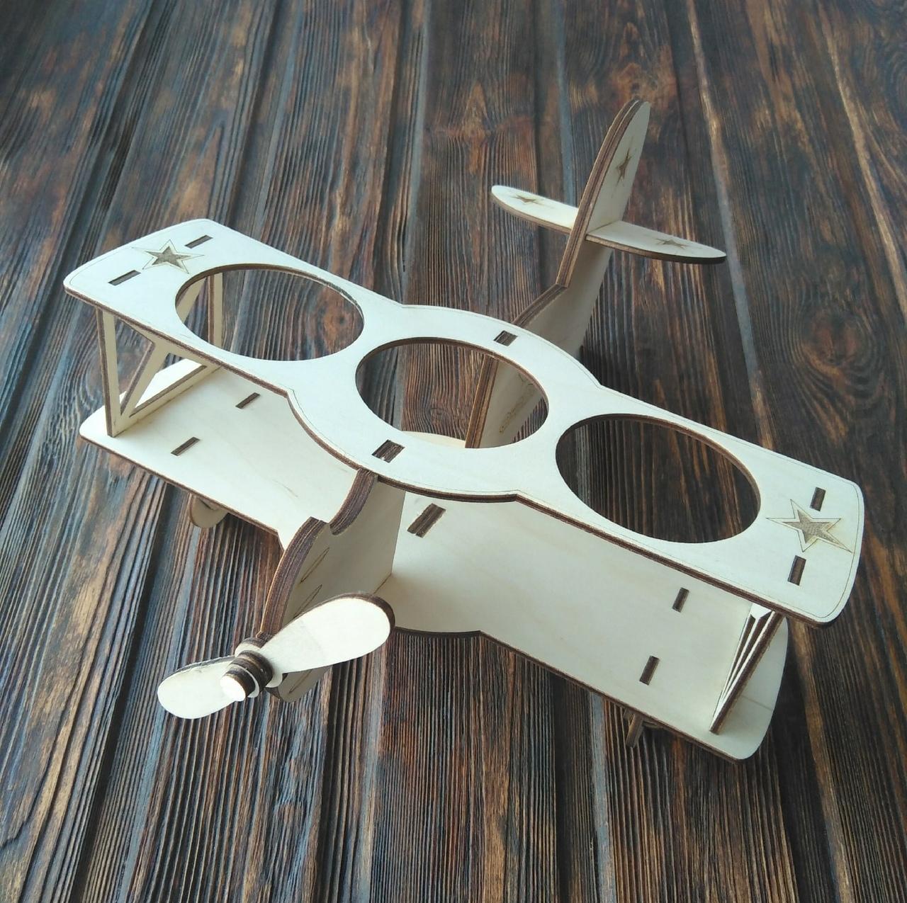 Laser Cut Biplane Wooden Beer Holder Free Vector