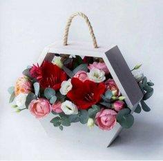 Laser Cut Hanging Flower Basket Valentine's Day Decor Hexahedron Flower Box Free Vector